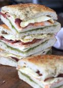 Super Bowl Sandwich. Italian club sandwich on focaccia. Perfect for game day!