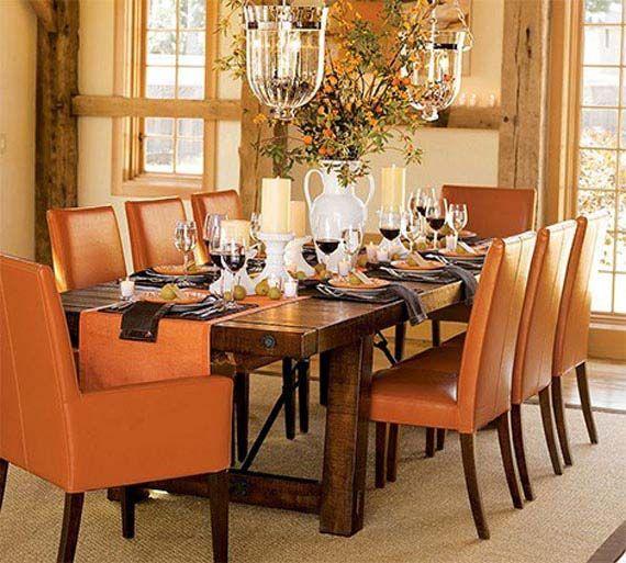 Orange Dining Room ~ Orange Chair covers