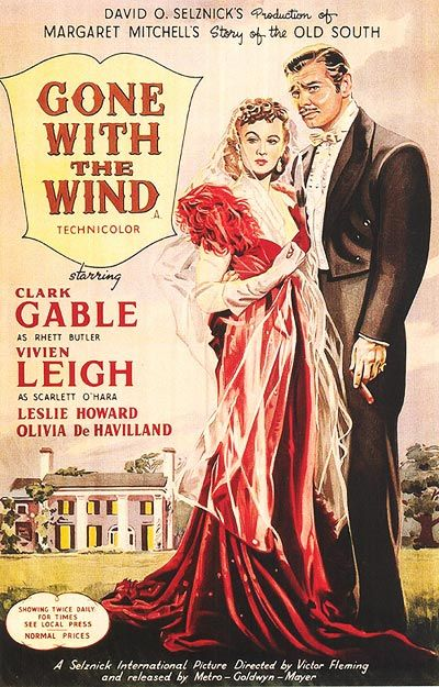 Gone with the Wind, poster from 1939 - featuring the femme fatale red dress.