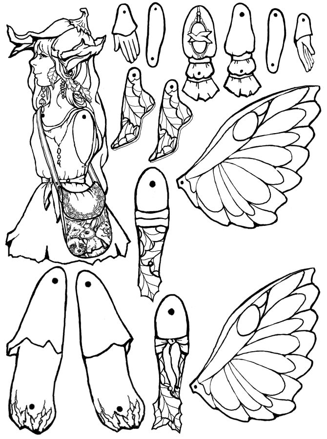 Fairy Paper Cut Out Puppet Sketch Coloring Page