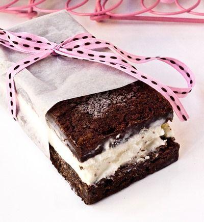 Fudgy Brownie Ice Cream Sandwiches - so much better than traditional ice cream sandwiches!