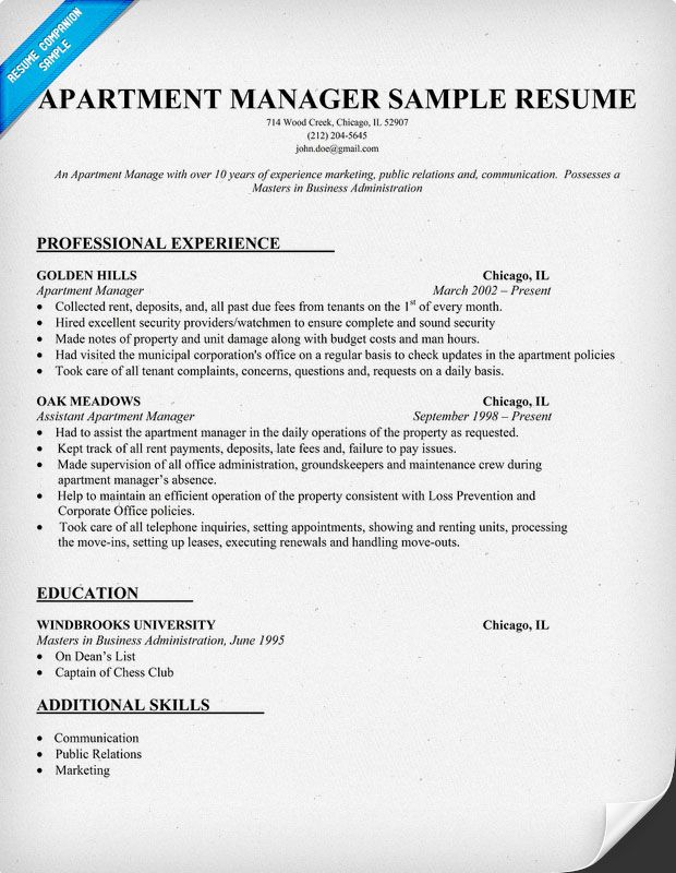 Apartment Manager Resume Sample Work Ideas Pinterest