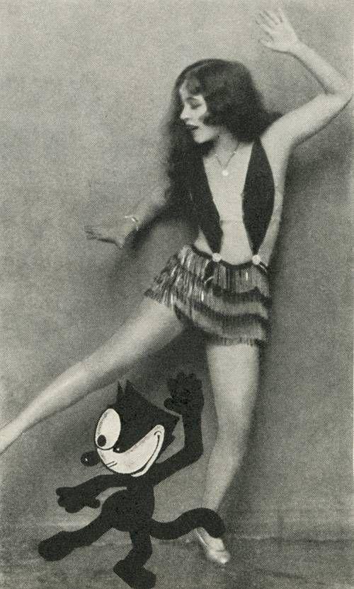 Ann Pennington teaching Felix the Cat how to dance The Black Bottom. Photoplay magazine, January 1927.