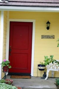 Yellow house with red door | Home | Pinterest