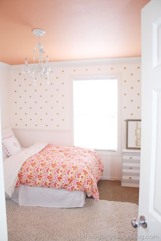 Girly Big Girl Room, wall decal polka dots, painted ceiling, chandelier, little girls bedroom coral