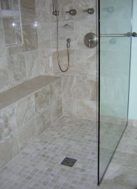 Curbless shower | OUR BATHROOM REMODELS | Pinterest