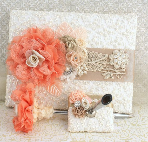 Wedding Guest Book and Pen in Ivory Peach Coral and
