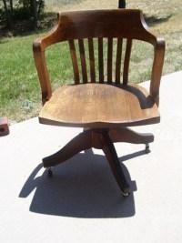ANTIQUE Mission Arts & Crafts Oak Wood Barrel Back Office ...