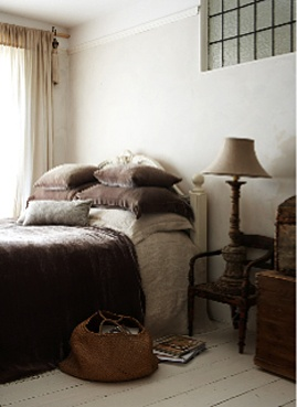 "From stacked pillows to chair to ""bed table"" re-purpose, to the linen colors..."
