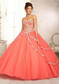 Coral Quinceanera dress | citlalis quince | Pinterest