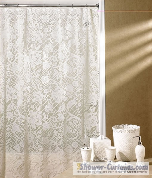 lace shower curtain  bathroom  Pinterest