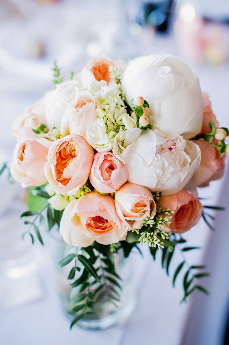 Rose + Peony Centerpiece - love the colors, very soft. Not a fan of the fern type greenery within the bouquet. Would love something like this for a centerpiece!