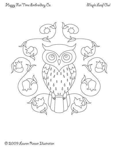 Owls and Wreaths Pattern for Hand Embroidery