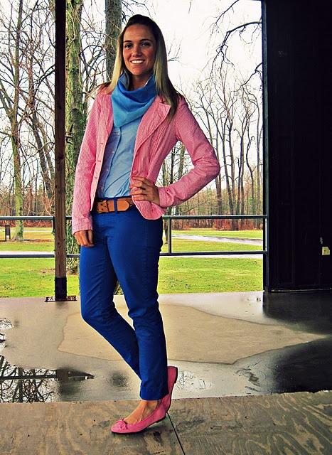 pink blazer cobalt blue pants pink flats