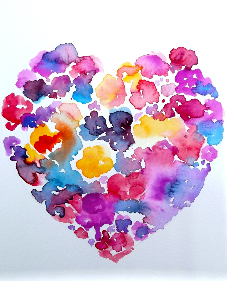 Love  Floral Heart Abstract Watercolor - Original Abstract Watercolor Painting by Lana.