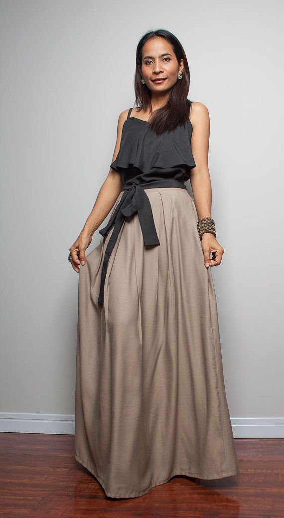 Cotton Skirt  Floor Length Skirt  Long Light Brown Maxi