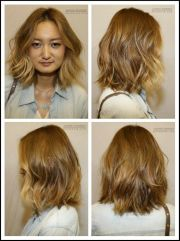 wavy shoulder length bob hair