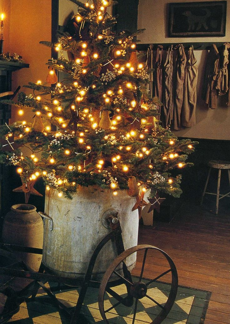 Get creative with what you put your tree in - an old bucket, a rustic wood box, a burlap pouch....the possibilities are endless!