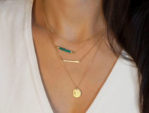 Layering Necklaces Set  // Choose Silver or Gold Necklaces // Minimal 14K Gold Fill Delicate Gold Necklaces with Gemstones on Etsy, $94.00