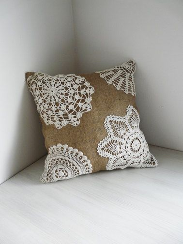 Burlap and Lace - Shabby Chic Pillow. Urban Analog via Etsy. Easy to make with cheap pillow and thrift store doilies for caitlin's new bedding love it