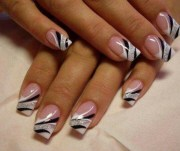 black white and silver nail art