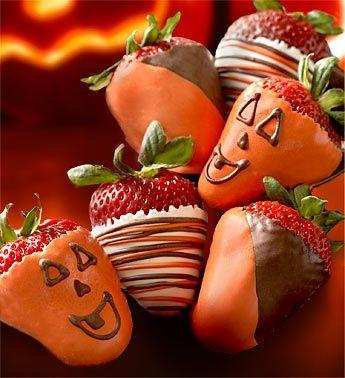 pumpkin Strawberries. Cute :) #Halloween