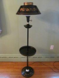 Vintage Black Tole Gold Leaf Floor Lamp with Table - Needs ...