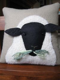 Primitive Wooly Sheep Decorative Pillow