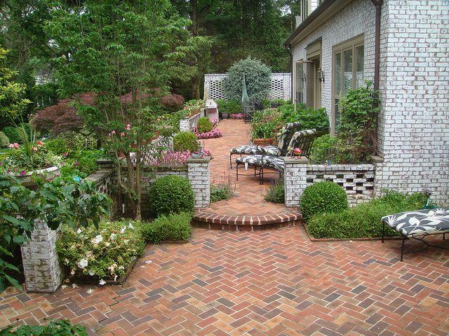brick patio  herringbone  landscape design  Pinterest
