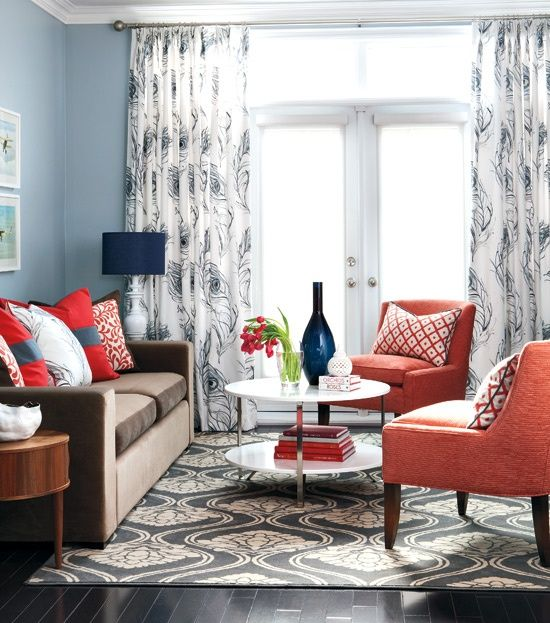 navy coral living room