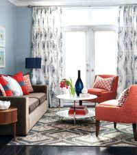 navy coral living room | For the Home | Pinterest