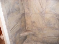 Slate-look porcelain tile | Bathrooms | Pinterest