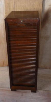 Vintage Tambour Door Roll Front Music File Filing Cabinet ...