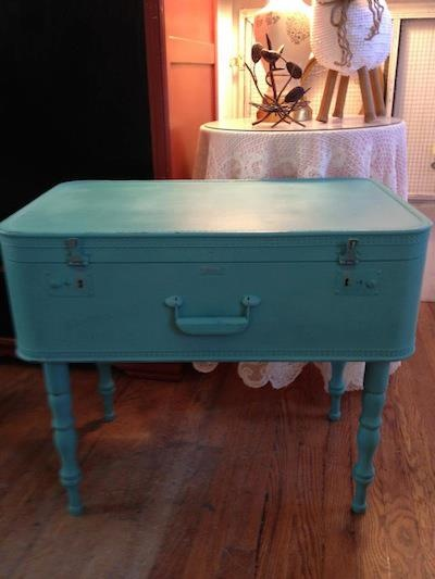 Stockists Sherry & Pam of The Pink House in Asheville, NC added legs to this vintage suitcase then used a lovely mix of Provence & Florence Chalk Paint® decorative paint by Annie Sloan for a unique small table!