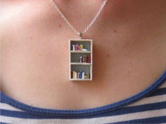 Go ahead, Stalker-Daphne...pin it too!  LOL  A teeny-tiny bookshelf necklace.