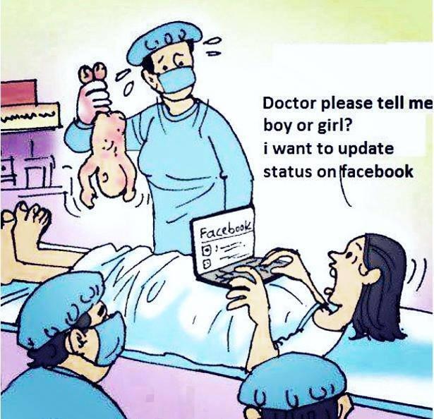 Image result for facebook addict cartoon