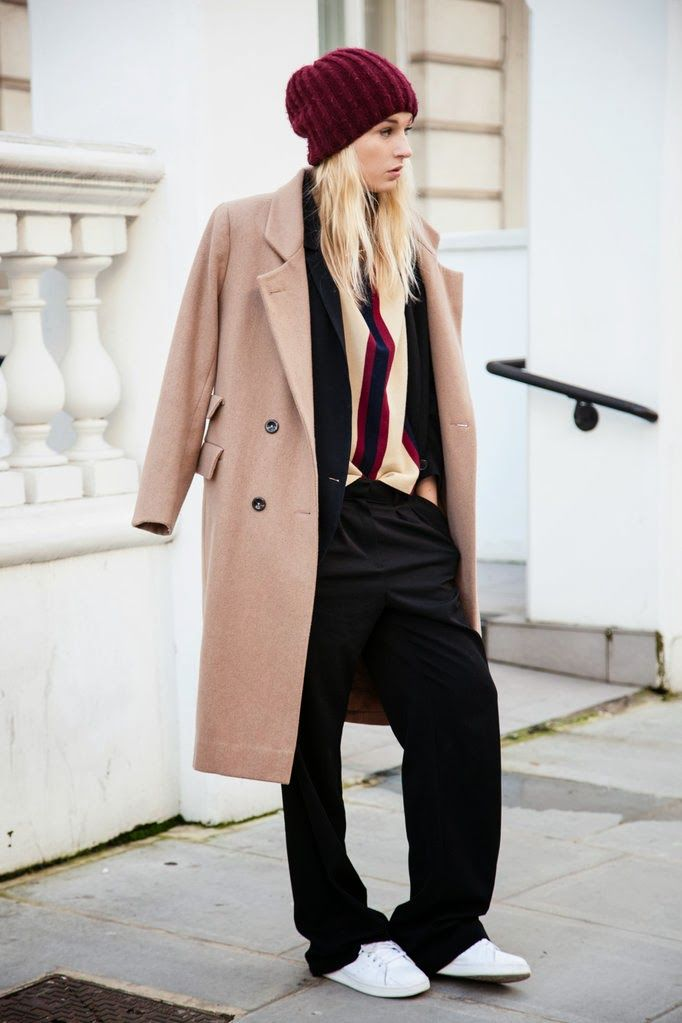Coat: Ganni (in black - or more camel coats) || Blazer: Zara || Top: Dries Van Noten (or try this and this on sale) || Watch: DKNY|| Pants: Mango || Sneakers: Adidas Stan Smith