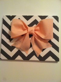 Chevron & pink bow wall decor | 365 Pinterest Attempts :D ...