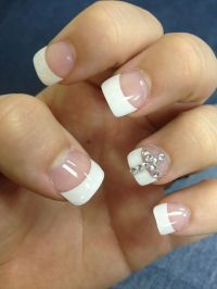 Acrylic nails with rhinestone cross! | PEDICURE DESIGNS ...