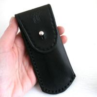 Pocket Knife Holder. Black leather pocket knife holder for ...