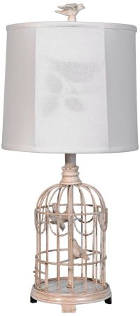 Bird Cage Table Lamp with Linen Shade