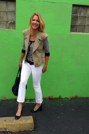 black + white stripes / white denim / khaki vest