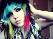 rainbow hair emo scene girls