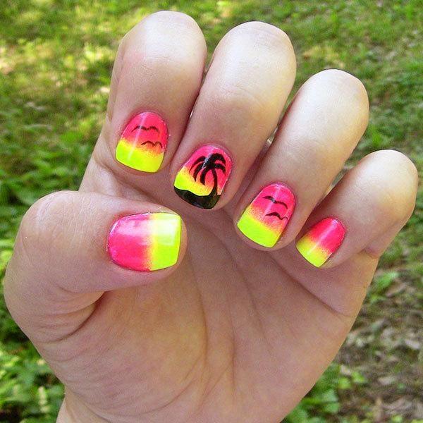 Summer Nail Art: Sunset Palm Tree Nail Design