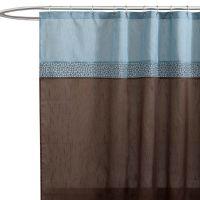 Geometric Blue/Brown Fabric Shower Curtain