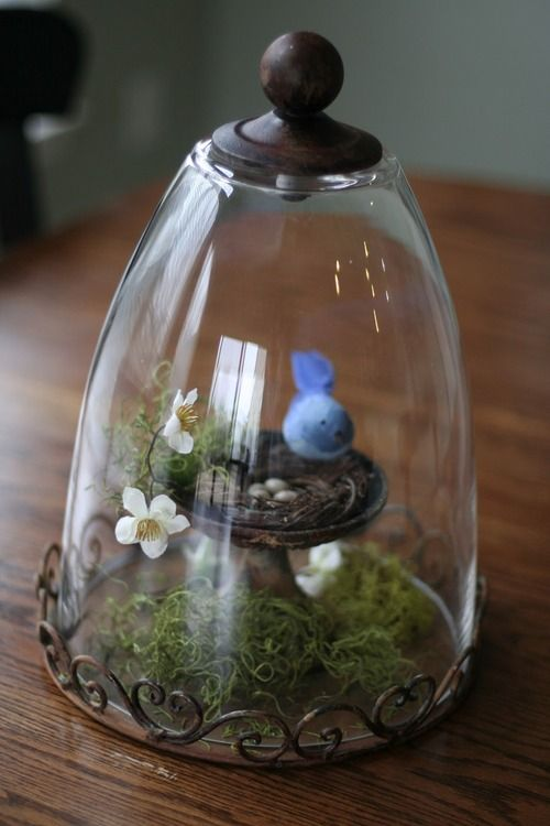 spring decor  (... made from a drinking glass w/a knob on top ... or bottom, as the case may be! k)