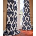 Ikat blue printed cotton curtain panel overstock com