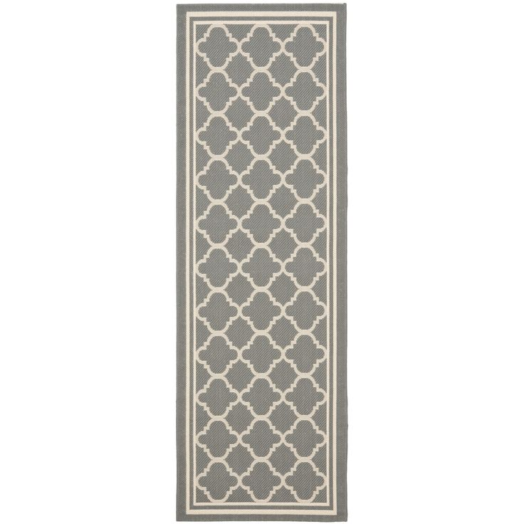 Safavieh Anthracite GrayBeige IndoorOutdoor Runner Rug
