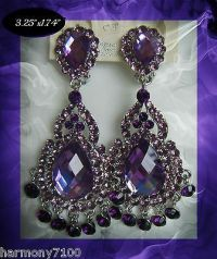 Purple Crystal Clip On Chandelier Earrings Drag Queen