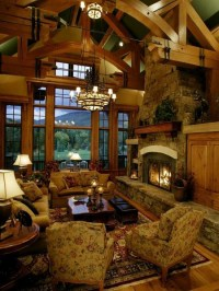 Log cabin living room | Interior Designs I Love | Pinterest